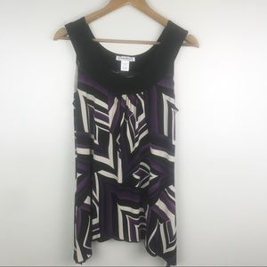CLAUDIA RICHARDS Geo Print Scoop Neck Tank Blouse